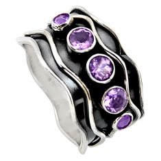 2.59cts natural purple amethyst round 925 sterling silver ring size 9.5 p96324