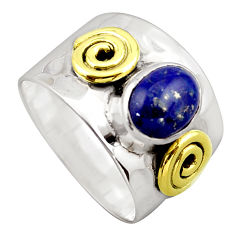 925 silver 3.44cts victorian natural lapis lazuli two tone ring size 8.5 p96424