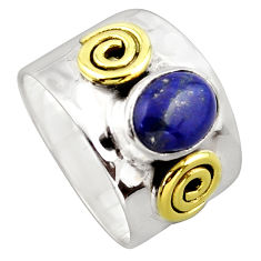 3.35cts victorian natural lapis lazuli 925 silver two tone ring size 8 p96425