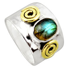 925 silver 3.35cts victorian natural labradorite two tone ring size 8 p96428