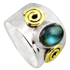 3.33cts victorian natural blue labradorite silver two tone ring size 8 p96431