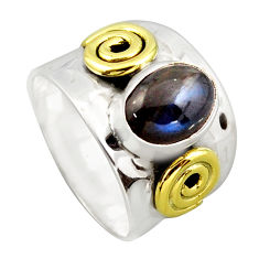 3.33cts victorian natural blue labradorite silver two tone ring size 7.5 p96433