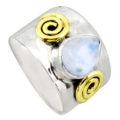 3.89cts victorian natural rainbow moonstone silver two tone ring size 6.5 p96434