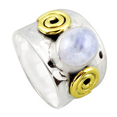 3.33cts victorian natural rainbow moonstone silver two tone ring size 8 p96435