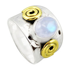 925 silver 3.13cts victorian natural moonstone two tone ring size 6.5 p96437