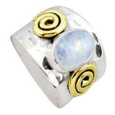 925 silver 3.24cts victorian natural moonstone oval two tone ring size 7 p96440