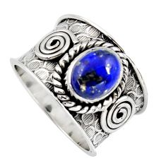 3.24cts natural blue lapis lazuli 925 silver solitaire ring size 8.5 p96450