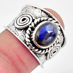 925 silver 3.13cts natural blue labradorite solitaire ring jewelry size 7 p96452