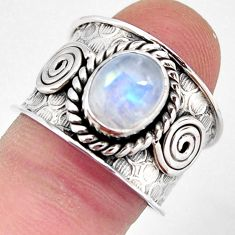 3.24cts natural rainbow moonstone 925 silver solitaire ring size 7.5 p96460