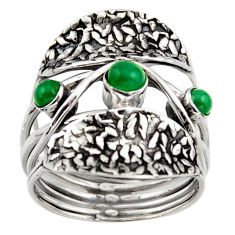 925 sterling silver 1.17cts natural green chalcedony ring jewelry size 6 p96484