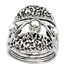 925 sterling silver 1.25cts natural white pearl round ring jewelry size 8 p96487