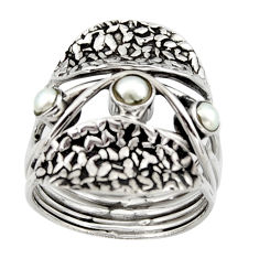1.30cts natural white pearl 925 sterling silver ring jewelry size 9.5 p96488