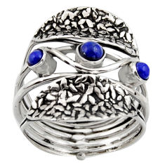 1.34cts natural blue lapis lazuli 925 sterling silver ring jewelry size 9 p96497