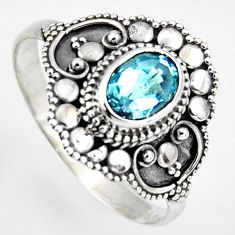 2.21cts solitaire natural blue topaz 925 silver ring jewelry size 10.5 p96652