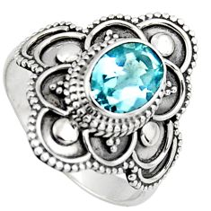 2.05cts solitaire natural blue topaz 925 silver ring jewelry size 6.5 p96656