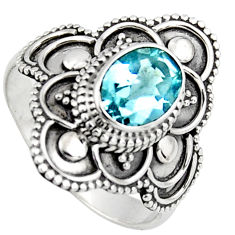 925 silver 2.19cts solitaire natural blue topaz ring jewelry size 9.5 p96659