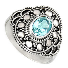 2.01cts solitaire natural blue topaz 925 silver ring jewelry size 8.5 p96661