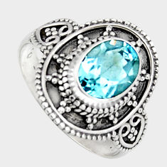 925 silver 1.94cts natural blue topaz solitaire ring jewelry size 6 p96671