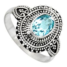 925 silver 2.21cts solitaire natural blue topaz ring jewelry size 8 p96672