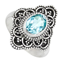 2.09cts solitaire natural blue topaz 925 silver ring jewelry size 6 p96674