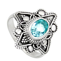 925 silver 1.96cts solitaire natural blue topaz oval ring jewelry size 6 p96679