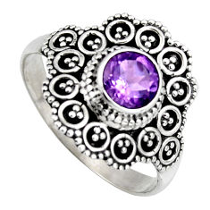 925 silver 1.04cts solitaire natural purple amethyst round ring size 8.5 p96688