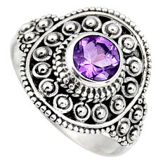 925 silver 1.09cts natural purple amethyst round solitaire ring size 7.5 p96708