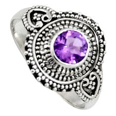 925 silver 1.04cts solitaire natural purple amethyst round ring size 10 p96715
