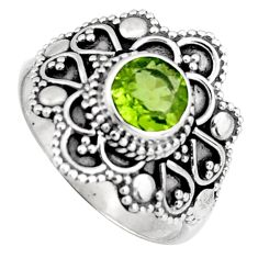 0.90cts solitaire natural green peridot 925 sterling silver ring size 6.5 p96722