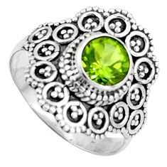 1.08cts solitaire natural green peridot 925 sterling silver ring size 9.5 p96724