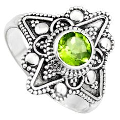 1.02cts solitaire natural green peridot 925 sterling silver ring size 9.5 p96725