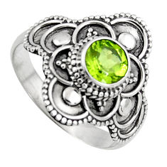 925 sterling silver 0.98cts solitaire natural green peridot ring size 7.5 p96727
