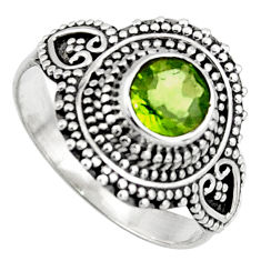 0.97cts solitaire natural green peridot 925 sterling silver ring size 7.5 p96735