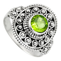 925 silver 1.09cts solitaire natural green peridot round ring size 6.5 p96738
