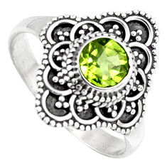 1.04cts solitaire natural green peridot 925 sterling silver ring size 8.5 p96741
