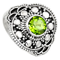 1.09cts solitaire natural green peridot 925 sterling silver ring size 7.5 p96743