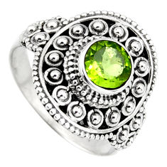 1.11cts solitaire natural green peridot 925 sterling silver ring size 6 p96745