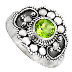 925 silver 0.97cts solitaire natural green peridot round ring size 6.5 p96757