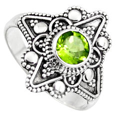 1.02cts solitaire natural green peridot 925 sterling silver ring size 9.5 p96759
