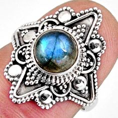 3.08cts solitaire natural blue labradorite 925 silver ring size 6 p96762