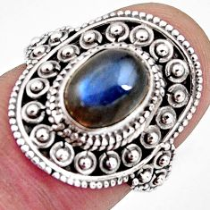 2.98cts solitaire natural blue labradorite 925 silver ring size 6 p96785