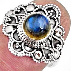 2.37cts solitaire natural blue labradorite 925 silver ring size 7 p96789