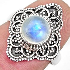 2.44cts solitaire natural rainbow moonstone 925 silver ring size 6 p96802