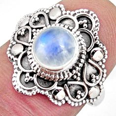 2.55cts solitaire natural rainbow moonstone 925 silver ring size 8 p96805