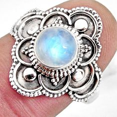 2.39cts solitaire natural rainbow moonstone 925 silver ring size 8 p96817