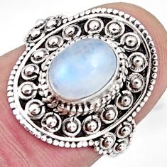 925 silver 2.13cts solitaire natural rainbow moonstone oval ring size 6 p96819
