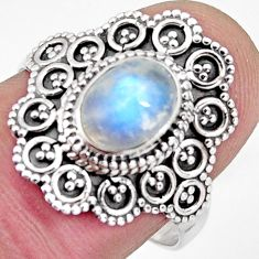 925 silver 2.19cts solitaire natural rainbow moonstone oval ring size 8 p96823