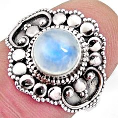 925 silver 2.39cts solitaire natural rainbow moonstone round ring size 6 p96834