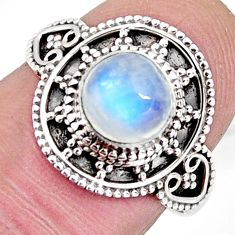 2.44cts solitaire natural rainbow moonstone 925 silver ring size 7.5 p96835