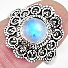 2.58cts solitaire natural rainbow moonstone 925 silver ring size 7.5 p96837